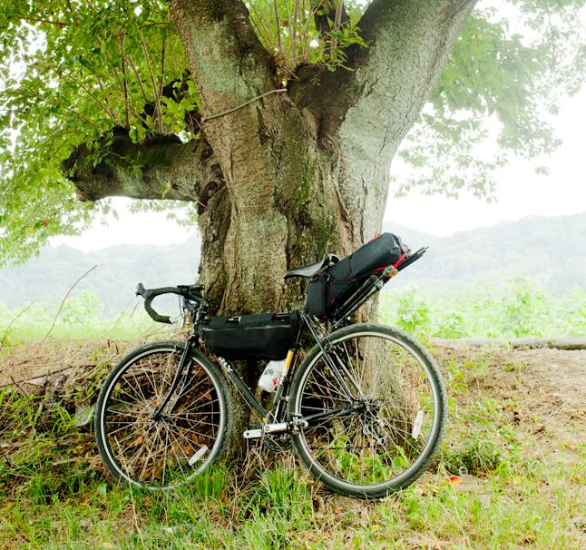 ライター三田のバックパッキング装備。こちらもバイクはサーリー・クロスチェック。