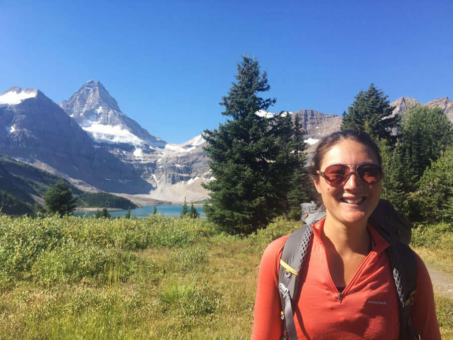 Liz with Mt. Assiniboine and Og Lake in the background. Photo by Naomi Hudetz