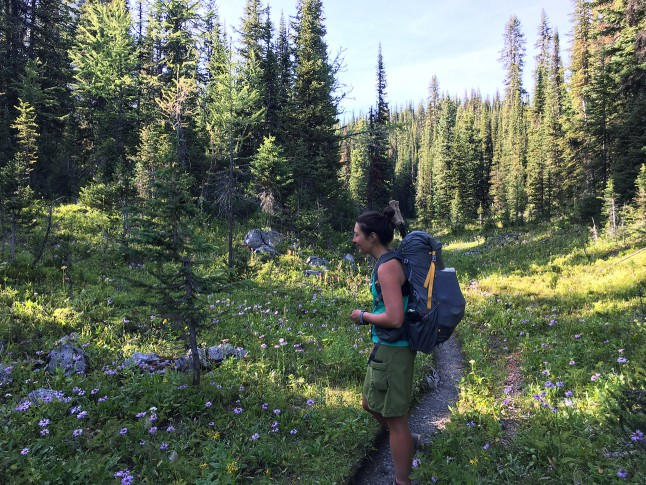 ピーター・ライード州立公園にある花でいっぱいのワンダーランドを歩く。Walking through a flowery wonderland in Peter Lougheed Provincial Park. Photo by Naomi Hudetz