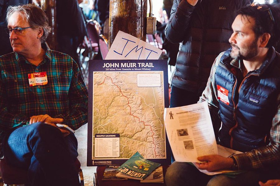 Hikers gather for a break-out session to learn more about the John Muir Trail. Photo by Meg Roussos courtesy ALDHA-West