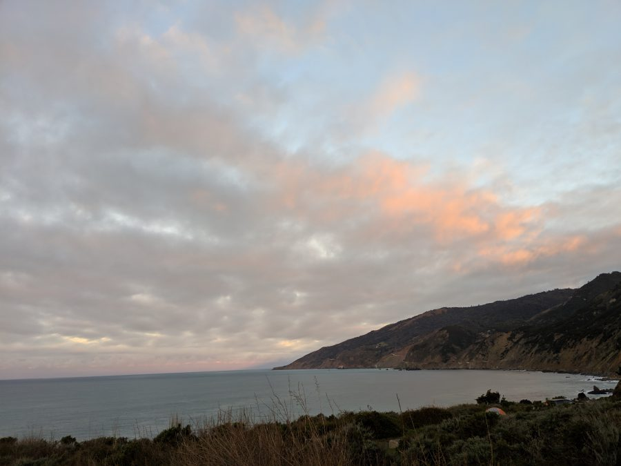 Sunrise from camp in Big Sur. Photo by Liz Thomas